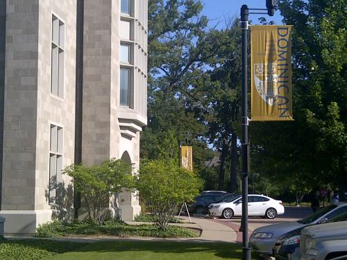 Beautiful campus and day to start pre-conference workshops at Dominican University.